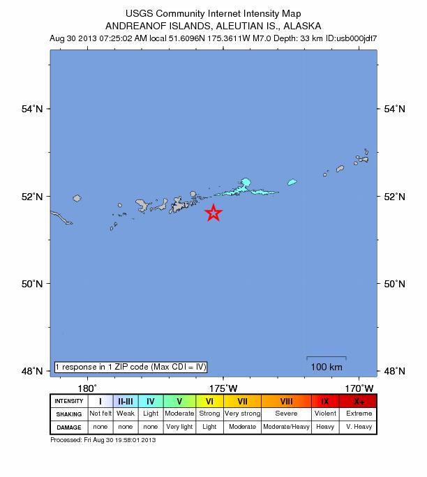 7.0 magnitude earthquake strikes Alaska's Aleutian Islands Alaska-aug-30