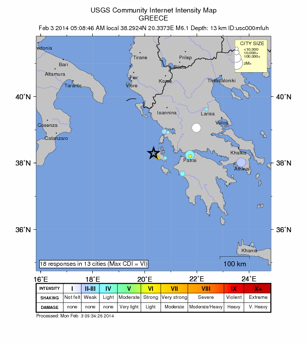6.1 magnitude earthquake strikes off western Greece, hits island of Cephalonia Greece-feb-3-2014