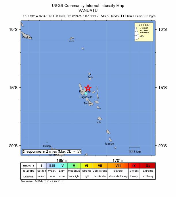 6.5 magnitude earthquake strikes South Pacific near Vanuatu Vanuatu-feb-7