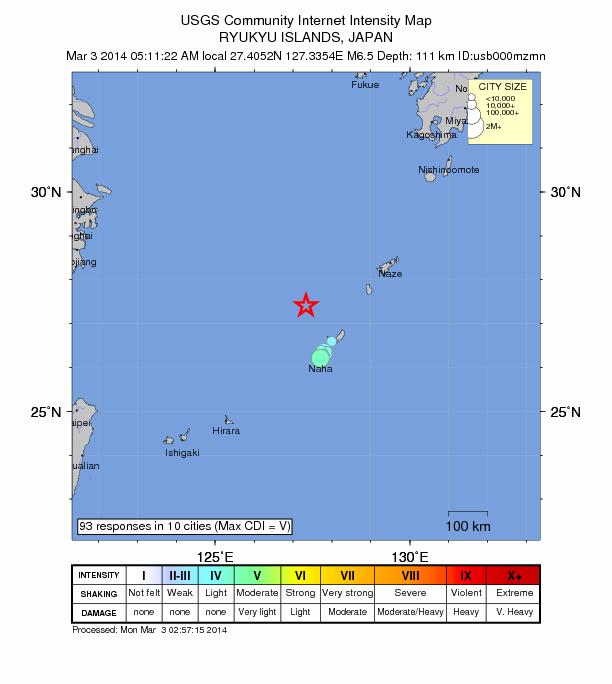 6.5 magnitude earthquake strikes near Nago, Japan Japan-6-5-march-2