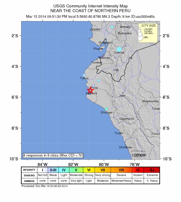 Peru 6.3 earthquake March 15