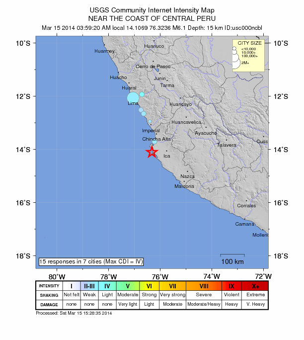 Planet shaken by spasm of moderate earthquakes over last 24 hours Peru-march-15