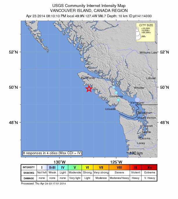 6.7 magnitude earthquake strikes S of Port Hardy, Canada Canada-6-7-mag-april-23