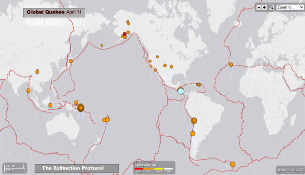 Global Quakes in Ring of Fire April 11 Sm