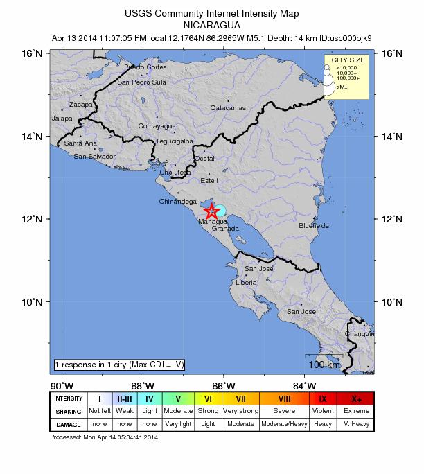 Nicarauga 5.1 earthquake