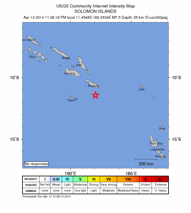 Solomon Islands 7.5 mag April 13
