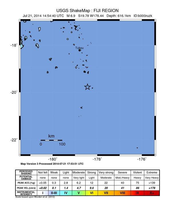 Fiji 6.9 magnitude earthquake July 21