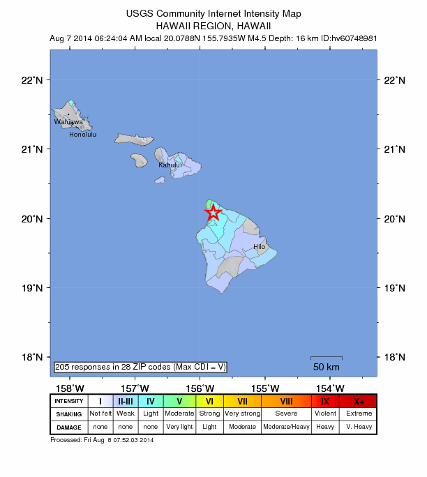 Hawaii rattled by 4.5 magnitude earthquake as hurricanes near Hawaii-4-5-august-7-2014