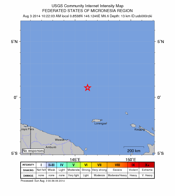 Micronesia 6.6 August 2 2014