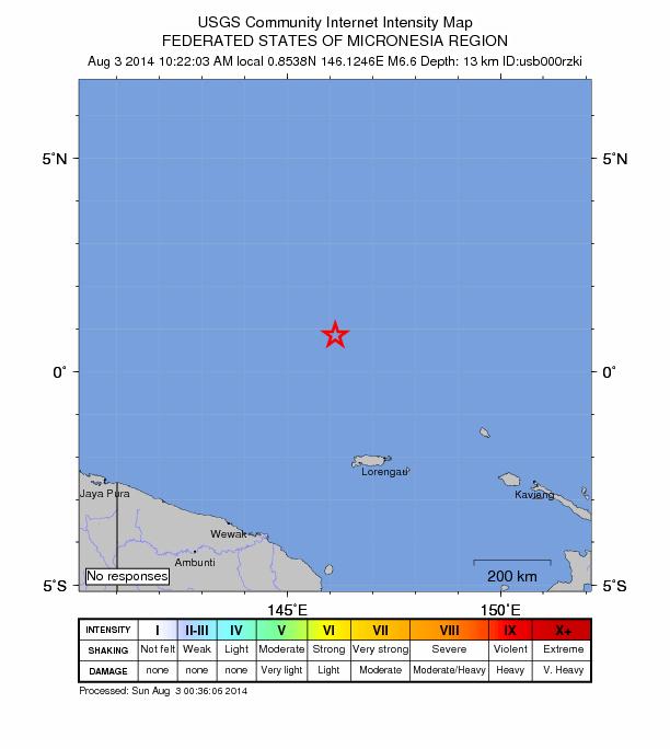 Micronesia 6.6 August 2 2014