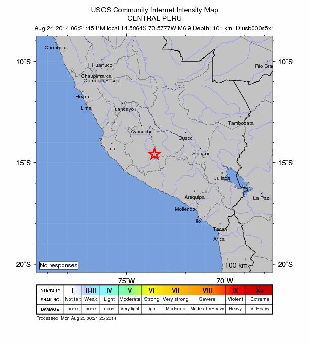 Strong 6.9 magnitude earthquake strikes Central Peru Peru-6-9-august-24-2014