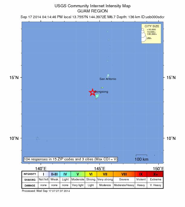 Guam 7.1 Sept 17, 2014