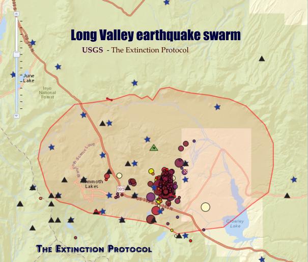 Long Valley Caldera EQ Swarm 2014