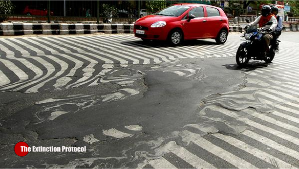 India Heatwave Roads Melt