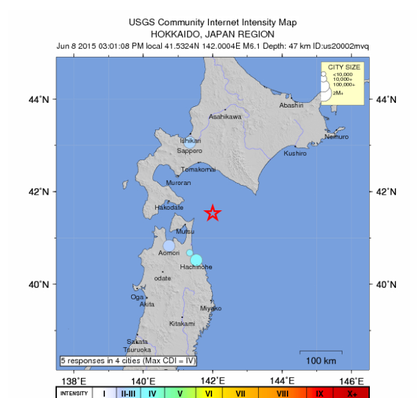 Japan struck by 6.1 and 4.5 magnitude earthquakes – no tsunami warnings issued 6-1-quake-japan-june-8-2015